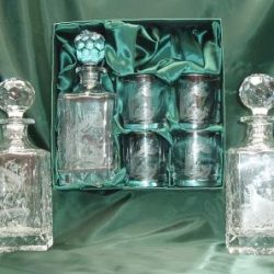 Engraved Crystal Decanters Sets with Glasses